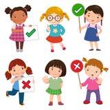 Uppsättning av flickor som rymmer och gör högert och fel tecken vektor illustrationer
