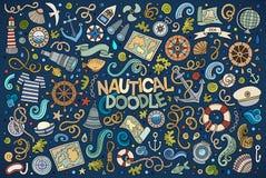 Uppsättning av flotta, nautiska objekt och symboler vektor illustrationer