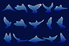 Uppsättning av flygblåttduvor på blå bakgrund Royaltyfri Foto