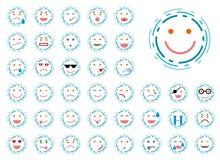 Uppsättning av fodrad smiley Arkivfoton