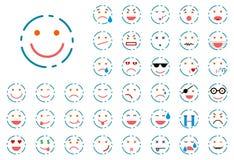 Uppsättning av fodrad smiley Arkivbilder