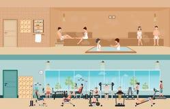 Uppsättning av folk i konditionidrottshallinre med utrustning och bastu I royaltyfri illustrationer