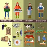 Uppsättning av folk av olika yrken stock illustrationer