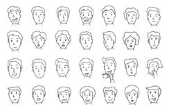 Uppsättning av folkframsidor olika sinnesrörelser Målat av handen Linjer skissar med blyerts Arkivbilder