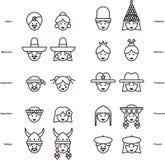 Uppsättning av FOLKsymboler från över hela världen stock illustrationer