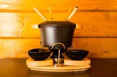 Uppsättning av fondue fotografering för bildbyråer