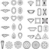 Uppsättning av former av diamanten Royaltyfri Fotografi
