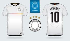 Uppsättning av fotbollärmlös tröja eller design för fotbollsatsmall för Tysklandmedborgarefotbollslag stock illustrationer