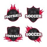 Uppsättning av fotbollfotbollemblem Arkivfoton