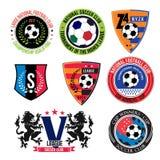 Uppsättning av fotbolllogoer, emblem och designbeståndsdelar Fotografering för Bildbyråer