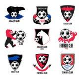 Uppsättning av fotbolllogoer och emblem Arkivfoto
