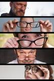 Uppsättning av foto av folkmän och kvinnor med exponeringsglas Begrepp av att ha problem med ögon arkivfoton