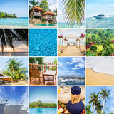 Uppsättning av foto om olika resande destinationer Arkivfoto