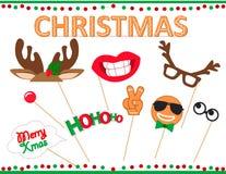 Uppsättning av fotobåsstöttor för glad jul Arkivfoton