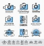 Uppsättning av fotografi och den tjänste- logoen för kamera Arkivbild