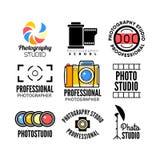 Uppsättning av fotografi och fotostudiologoen Arkivfoto