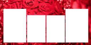 Uppsättning av fotoramen med bandet, på röda bakgrunder Panorama- album 30-60 format stock illustrationer