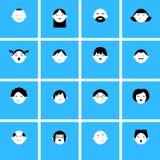 Uppsättning av framsidasymboler för avatars Arkivfoton
