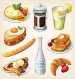 Uppsättning av franska frukostbeståndsdelar stock illustrationer