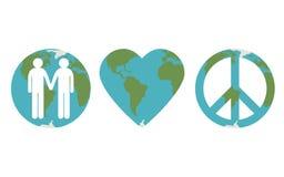 Uppsättning av fred på jordsymboler royaltyfri illustrationer