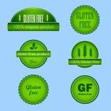 Uppsättning av fria matetiketter för gluten Royaltyfri Fotografi