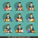 Uppsättning av frilans- karriärsymboler Arkivbilder