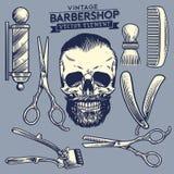 Uppsättning av frisersalong- och skallebeståndsdelen stock illustrationer