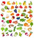 Uppsättning av frukt- och grönsakillustrationen Frukt och grönsak ic stock illustrationer
