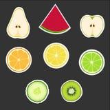 Uppsättning av frukter Arkivbild