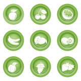 Uppsättning av fruktsymboler i grön färg Royaltyfria Bilder
