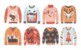 Uppsättning av fula jultröjor eller förkläden som isoleras på vit bakgrund Samling av stucken kläder för vinterferie royaltyfri illustrationer
