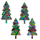 Uppsättning av fyra abstrakta julgranar färgrik geometrisk modell Arkivfoto