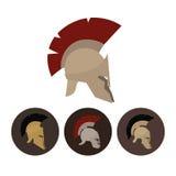 Uppsättning av fyra antika hjälmar, vektorillustration Royaltyfri Bild