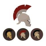 Uppsättning av fyra antika hjälmar, vektorillustration Arkivbilder
