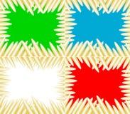 Uppsättning av fyra bakgrundstapetträstickor eller vaxfärgpennor som är ordnade runt om grön röd blått- och vitbakgrundsillu vektor illustrationer