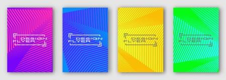 Uppsättning av fyra broschyrer, affischer, reklamblad Mång- kulöra geometriska linjer med kurvor Blå apelsingräsplan för lilor royaltyfri illustrationer