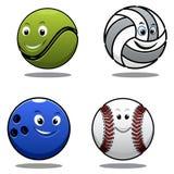 Uppsättning av fyra cartoonlsportbollar Royaltyfri Foto
