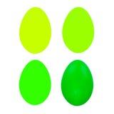 Uppsättning av fyra easter ägg som isoleras på vit bakgrund för design Arkivfoto