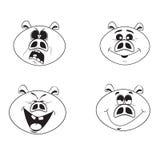 Uppsättning av fyra emotionella rosa svintecken för gullig tecknad film royaltyfri illustrationer