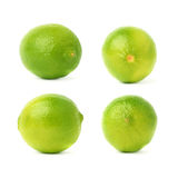 Uppsättning av fyra enkla limefrukter i olika sammansättningar och perspektiviska förkortningar som isoleras över den vita bakgru Arkivfoto