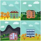 Uppsättning av fyra ensamma hus i naturen Fotografering för Bildbyråer