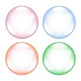Uppsättning av fyra färgrika bubblor på vit bakgrund Royaltyfri Foto