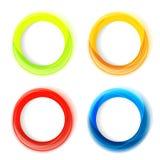 Uppsättning av fyra färgrika cirkelramar Royaltyfria Bilder