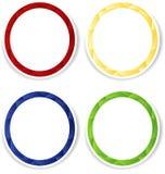 Uppsättning av fyra färgrika cirkelramar med vit copyspace Fotografering för Bildbyråer