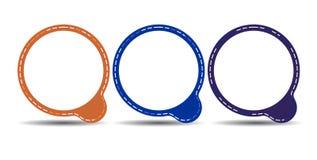 Uppsättning av fyra färgrika cirkelramar med vit copyspace Arkivfoto