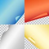 Uppsättning av fyra färgrika skinande legitimationshandlingar för vektor med krullad hörniso Arkivbild