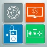 Uppsättning av fyra färgrika symboler med textur för websites och program Royaltyfri Fotografi