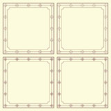 Uppsättning av fyra fyrkantiga ramar för tappning Vektor Illustrationer
