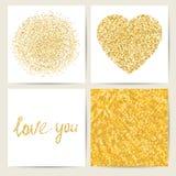 Uppsättning av fyra kortmallar Guld- stilfull garnering Royaltyfri Foto