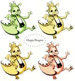 Uppsättning av fyra lyckliga drakar: gräsplan sandigt, gult och orange Royaltyfri Bild